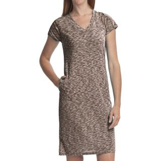 ExOfficio Chica Cool Dress   V Neck  Short Sleeve (For Women)   DARK PEBBLE (XS )