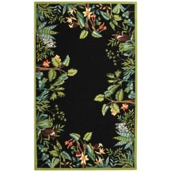 Large Hand hooked Chelsea Jungle Black Wool Rug (89 X 119)