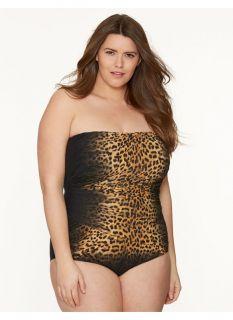 Lane Bryant Plus Size Animal print maillot by Gottex     Womens Size 22W,