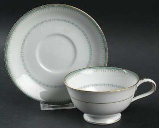 Noritake Maya Footed Cup & Saucer Set, Fine China Dinnerware   Blue/Green Decor