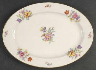 Lamberton Linda Lee 12 Oval Serving Platter, Fine China Dinnerware   Floral Gro