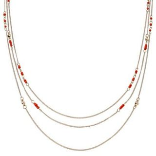 Womens Long Multi Strand Chain and Cord Beaded Necklace   Pink/Orange/Gold