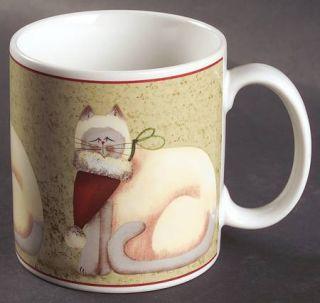 Sakura Christmas Cats Rim Mug, Fine China Dinnerware Cats Wearing ...