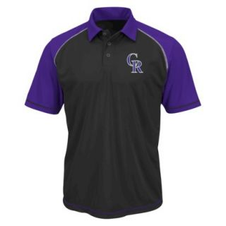 MLB Mens Colorado Rockies Synthetic Polo T Shirt   Black/Purple (S)