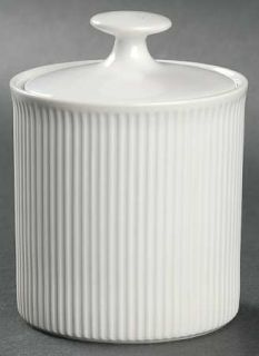 Prisma Vienna Sugar Bowl & Lid, Fine China Dinnerware   All White, Ribbed   Rim