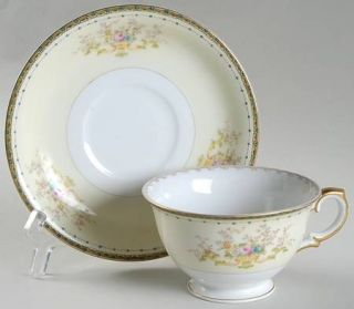 Meito Dorothy Footed Cup & Saucer Set, Fine China Dinnerware   Green Border,Flor