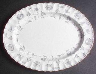 Spode Colonel Gray (Gold) 14 Oval Serving Platter, Fine China Dinnerware   Gray