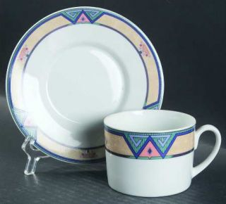 Christopher Stuart Montero Flat Cup & Saucer Set, Fine China Dinnerware   Tan Bo