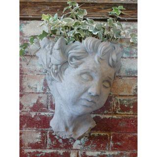 Designer Stone Cherub Head Wall Planter Multicolor   2167
