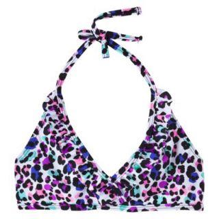 Xhilaration Girls Leopard Print Halter Bikini Top   White XS