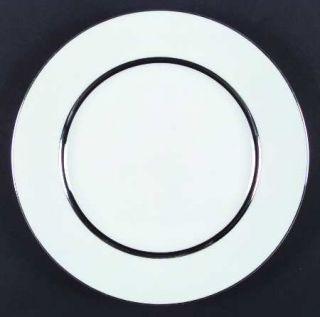 Mikasa Wedding Ring Dinner Plate, Fine China Dinnerware   Silver & Black Verge,