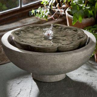 Campania Cast Stone Flores Garden Terrace Fountain Copper Bronze   FT 170 CB