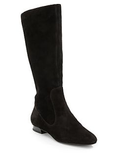 Kira Knee High Suede Boots   Black