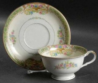 Black Knight Gloria Footed Cup & Saucer Set, Fine China Dinnerware   Green Borde