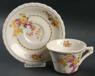 Myott Staffordshire Rosita Flat Cup & Saucer Set, Fine China Dinnerware   Pink &