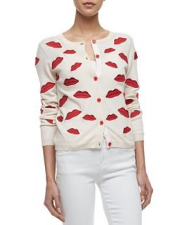 Womens Pout Lip Print Cardigan   Alice + Olivia