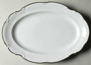 Saladmaster Wedding Band 15 Oval Serving Platter, Fine China Dinnerware   White