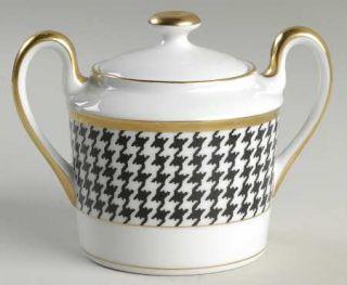 Christian Dior Pied De Poulet Platinum  Sugar Bowl & Lid, Fine China Dinnerware