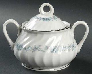 Royal Jackson Blue Heaven Sugar Bowl & Lid, Fine China Dinnerware   Platinum Tri