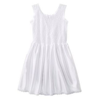 Girls Lace Nylon Full Slip   White 10