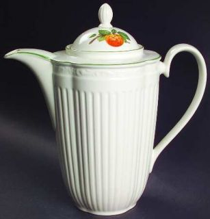 Mikasa Summer Poetry Coffee Pot & Lid, Fine China Dinnerware   Fruit Center, Emb