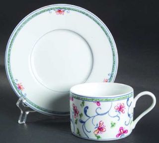 Interiors (PTS) Portuguese Tile Flat Cup & Saucer Set, Fine China Dinnerware   T