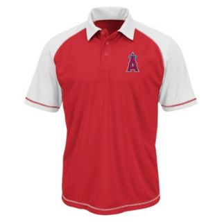 MLB Mens Los Angeles Angels Synthetic Polo T Shirt   Red/White (XXL)
