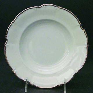 Saladmaster Wedding Band Rim Soup Bowl, Fine China Dinnerware   White, Scalloped