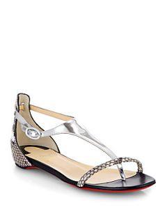 Christian Louboutin Athena Python T Strap Flat Sandals   Silver