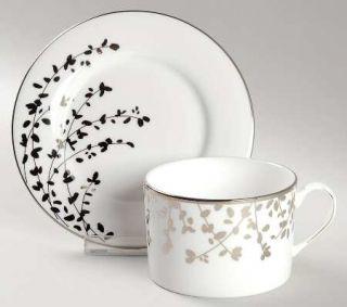 Lenox China Gardner Street Platinum Flat Cup & Saucer Set, Fine China Dinnerware