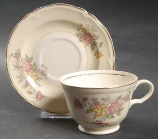 Edwin Knowles Bouquet Footed Cup & Saucer Set, Fine China Dinnerware   Pink/Yell