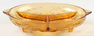 Indiana Glass Daisy Amber 3 Part Relish Dish   Amber, Glassware 40S 60S