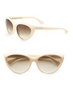 Tom Ford Eyewear Martina Classic Cats Eye Sunglasses   Ivory