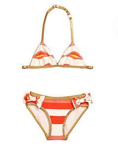 Toddlers & Little Girls Hayley Stripe Bikini   Tapioca