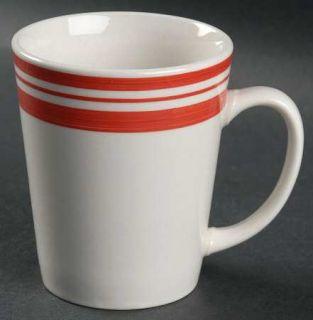 Philippe Richard Diner Story Red Mug, Fine China Dinnerware   Red Bands On White