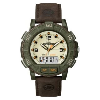 Timex Mens Expedition Watch Leather Strap   Green/Brown