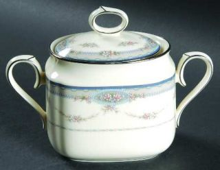 Noritake Impetuous Sugar Bowl & Lid, Fine China Dinnerware   Gray Border,Flower