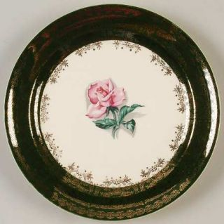 Taylor, Smith & T (TS&T) Tst7 Salad Plate, Fine China Dinnerware   Green Border
