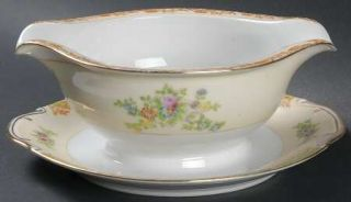 Royal Derby (Japan) Rdb1 Gravy Boat with Attached Underplate, Fine China Dinnerw