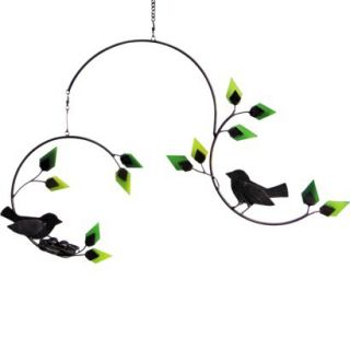 Forest Birds With Nest Glass and Metal Kinetic Hanging Mobile