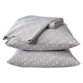 Room Essentials Easy Care Sheet Set   Gray/Yellow Grid (Full)