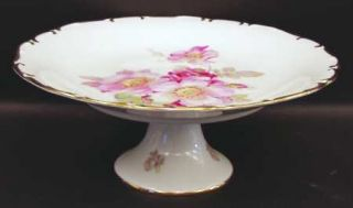 Schumann   Bavaria Wild Rose Scalloped (Coupe) Footed Cake Plate, Fine China Din