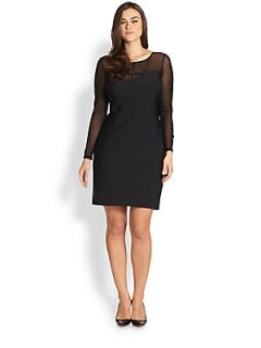 Kay Unger, Sizes 14 24 Textured Mesh Dress   Black