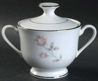 Royal Prestige Rose Crest Sugar Bowl & Lid, Fine China Dinnerware   Pink&White R