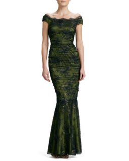 Womens Off the Shoulder Floral Lace Gown   Kay Unger New York