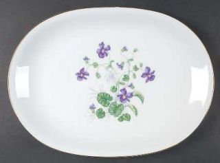 Heinrich   H&C Violet 14 Oval Serving Platter, Fine China Dinnerware   Violets,