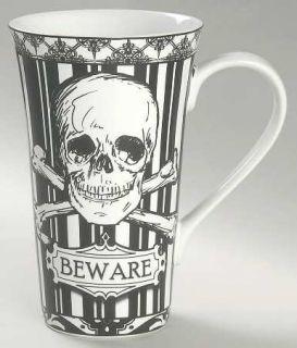 222 Fifth (PTS) Halloween Skulls Latte Mug, Fine China Dinnerware   Black & Whit