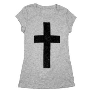 Juniors Glitter Cross Graphic Tee   S
