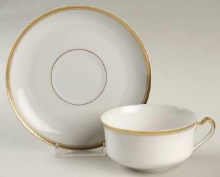 Heinrich   H&C Princess Flat Cup & Saucer Set, Fine China Dinnerware   White Bod