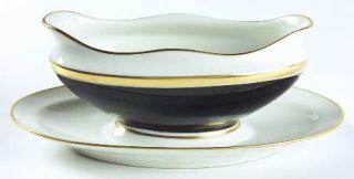 Richard Ginori Contessa Black Gravy Boat with Attached Underplate, Fine China Di